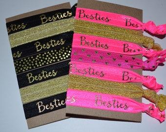 Set of Seven Besties Hair Ties Black Gold Hot Pink Gold BFF Best Friends Gift