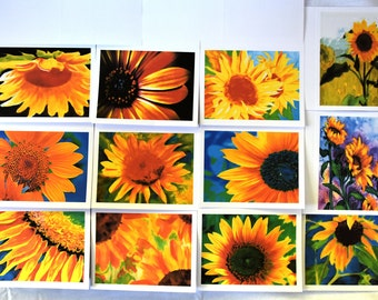 Painted Sunflowers Popping with Joy - Notecards