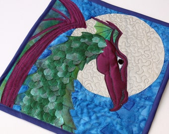 Purple Dragon Quilted Wall Hanging / Mini Art Quilt