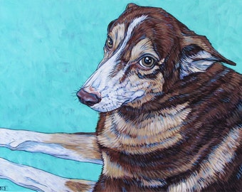 """Custom Pet Portrait Painting in Acrylic on Canvas 11"""" x 14"""" of One Dog, Cat, or Other Animal Ready to hang no framing needed dog lover gift"""