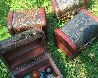 ON SALE 10 percent off Wooden Treasure Chest Box, with mixed gemstone polished crystals, crystal kit, crystal set, metaphysical, new age wic