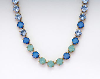 Blue Green Swarovski Crystal Necklace, Blue Rhinestone Jewelry, Green Crystal Jewelry, Hypoallergenic Swarovski Necklace Brass, Gaetana