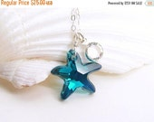 Holiday Sale - Starfish Necklace. Swarovski Crystal RARE Indicolite AB Starfish. Summer wedding. Bridesmaid Gift. Simple Modern Jewelry