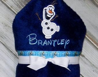 Personalized Olaf Hooded Towel