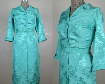 Vintage 1950s Dress Silk Dress 50s Aqua Silk Dress with Asian Style Details and Belt Size L
