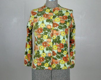 Vintage 1950s 1960s Sweater 50s 60s Printed Floral Wool Cardigan Size M