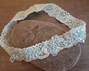 Blue garter, wedding garter, embellished floral lace garter, bridal garter SMALL