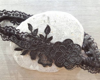 Black garter, wedding garter, Floral Lace Garter, bridal garter