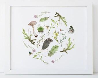 Botanical Mouse Print 8x10 Woodland Nursery Art