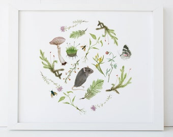Botanical Mouse Print 5x7 Woodland Nursery Art
