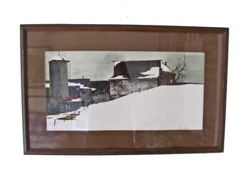 Vintage Jane Carlson 1970's Original Watercolor-Barn in Snow-Framed