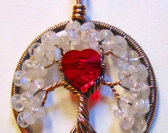Wire Wrapped Tree of Life, Rainbow Moonstone & Red Swarovski Crystal Heart, Moonstone Tree of Life, Red Heart Necklace, Moonstone Jewelry
