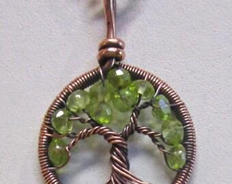 Miniature Peridot Antiqued Copper Wire Wrapped Tree of Life, Peridot Mini Tree, Peridot Jewelry, Peridot Necklace