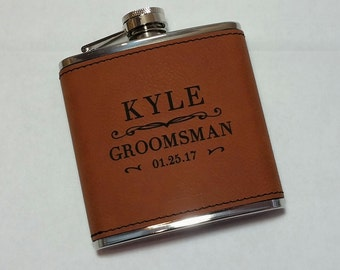 Leather Rawhide Flask, Groomsmen Gift, Engraved Hip Flask, Personalized Flask, Best Man Gift, Bridal Party, Wedding Party Gift, 1 Flask
