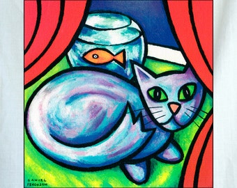 Blue Cat and Fish Small Canvas Wall Art 6x6x1.5 in.