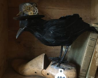 Vintage shoe form crow home decor assemblage art