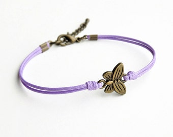 Butterfly Bracelet, Lilac Cord Bracelet, Friendship Bracelet, Insect Bracelet, Animal Bracelet, 28 Colors Available