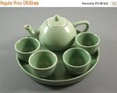 ON SALE Japanese Porcelain Demitasse Mini Tea Saki Set // 7 Sage Green Pieces