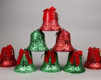 Eight Large Plastic Red and Green Bells For Kitschmas Decor, Upcycle for Weddings, Anniversaries