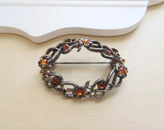 Vintage Silver Plate Amber Orange Rhinestone Flower Open Vine Brooch Pin B7