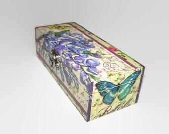 Decoupage Wooden Jewellery Box - Decoupage Keepsake Box - Desk Tidy - Butterfly Trinket Box