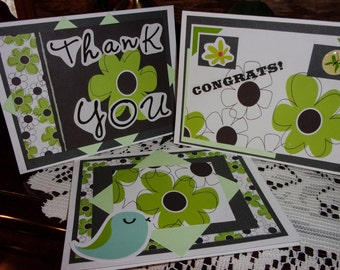 Green flower cards, set of 3 cards, small note cards, flower cards, congrats, thank you, handmade cards, green, gray, ArtFromTheCabin