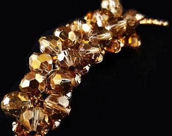 "JULIANA Brooch Pin D&E Figure 8's Mink Brown Crystal Bead Cluster 3.5"" Vintage"