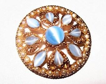 """Pin Wheel Flower Brooch Blue Givre Cat Eye Rhinestones Seed Pearls Gold Metal 2"""" Vintage"""