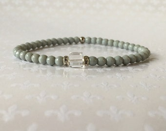 Gray Beaded Bracelet, Stacking Bracelets, Crystal Bracelet, Layering Bracelets, Czech Glass