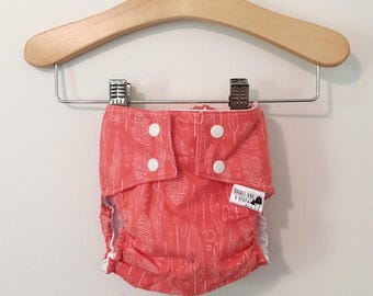 Pink Feathers PUL Lined Water Resistant Diaper Cover Available in Small