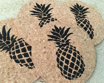 Hawaiian Pineapple Coaster Set, Beach Coasters, Beach Coaster Set, Pineapple Coasters, Cork Coaster Set, Beach Coasters, Tropical Coaster