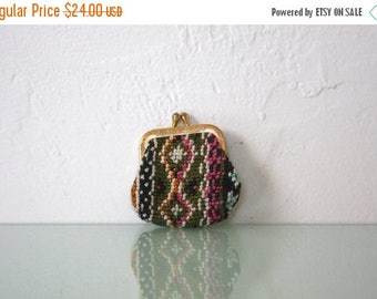 BIRTHDAY SALE Vintage Tiny Needlepoint Tapestry Coin Purse