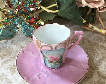 Beautiful and Dainty Art Nouveau Era Demitasse Cup and Saucer with Pink Rose