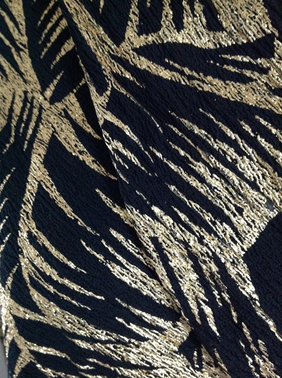 Vintage 80s fabric black gold Rock palm trees disco exotic ...