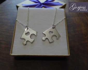 Two Corner Puzzle Pendant Necklaces