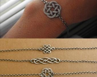 Celtic knot bracelet - oxidized sterling silver - celtic jewelry - blackened sterling silver - endless knot bracelet