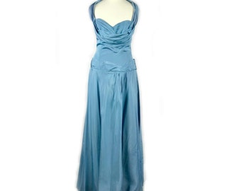1950S Blue Full Length Evening Gown