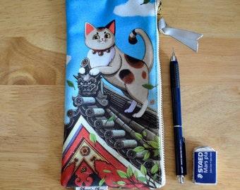 Japanese Maneki-Neko Lucky Cat Pouch, Pencil Case, Bag