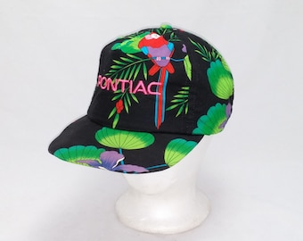 Vintage 1990s Trucker Ball Cap - PONTIAC - Hawaiian Print -  Hipster, Rockabilly, Pontiac Firebird, Classic Cars, Accessories, Dad Hats