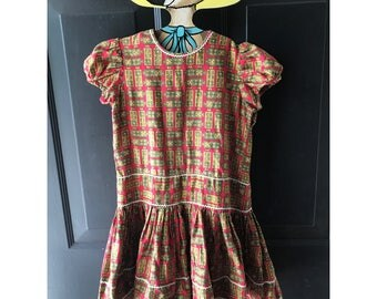 Vintage fifties girls red and patterned dress 4t