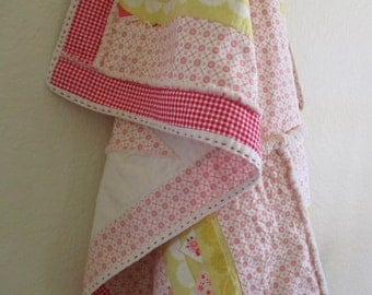 Patchwork Lap Rag Quilt, Handmade Quilt, Throw Quilt, Rag Quilt, Country Quilt, Patchwork Throw, Pink and Yellow