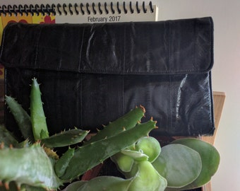 80s BLACK EEL ENVELOPE Wallet w/ Many Areas for Organization