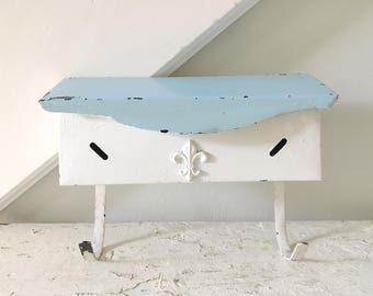 Vintage Mailbox White Blue Hanging Metal