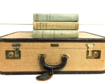 Vintage Tweed Suitcase Luggage Oshkosh Leather Trim