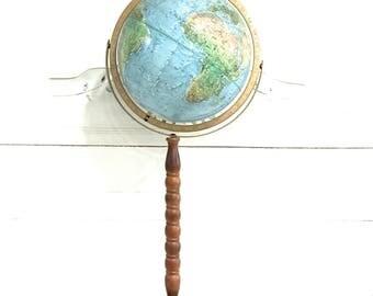 Vintage World Globe Wood Stand Replogle Land and Sea Globe Floor Stand