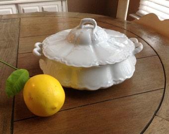 Vintage White Covered Vegetable Dish Made in Bavaria