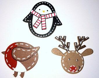 Christmas Needle Minder, Robin Needle Minder, Festive Needle Keep, Pin Holder,Fridge Magnet, Stitch Minder, Needle Holder,  Penguin Minder