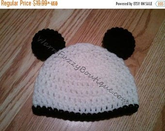 SALE 20% OFF Panda Hat - Crochet Baby Newborn Beanie Cap Shoes Costume Knit Halloween  Photo Prop Christmas Gift Winter Outfit