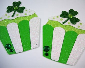 St Patricks Day Cupcakes, Die cuts, Scrapbook Embellishment, Card Topper