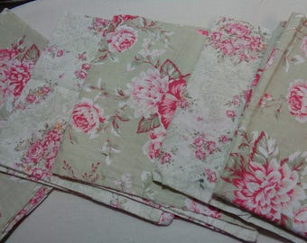 Set of 5- Shabby Chic Cottage Roses Napkins -Finger Towels-